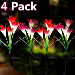 4 Pack Solar Lily Flower Lights 7 Colors Changing LED Outdoor Garden Decor Stake $18.99