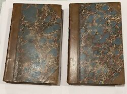 antique pair of 1862 Walter Scott novels in leather bindings with Marbled Covers $40.00