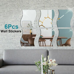 DIY Home Decor Waves Mirror Tiles Wall Sticker Square Self Adhesive Stick On Art $9.99