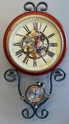 Steampunk Gears Wall Clock amp; Thermometer Industrial Repurposed Handmade $85.00
