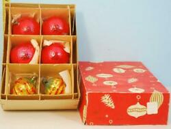 Vintage Box of Glass Christmas Ornaments from Czechoslovakia Acorns amp; Red Orbs $19.00