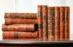 Large Collection of Beautiful Victorian Antique Leather Spine Books $145.00