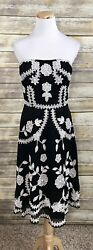 Adrianna Papell Evening Black Beaded Strapless SILK Cocktail Floral Dress 4 $49.97