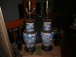 PAIR OF HUGE EARLY ANTIQUE DRAGON MOTIF CHINESE LAMPS $3300.00
