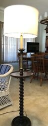 Antique FLOOR LAMP BARLEY TWIST English with drink TABLE $350.00