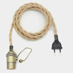 New Lighting Vintage Cord EU Plug Switch E27 Lamp Holder Twisted Wire Decoration $16.00