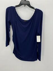 Halogen Womens Size L Large Blue 3 4 Long Sleeve Pullover Top Long Neck $12.39
