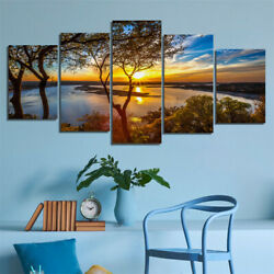 5pc Canvas Forest Lake Sunset Print Picture Paintings Photo Wall Art Home Decor $12.99