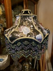 Victorian French Large Floor Table Lamp Shade quot;Blue Mauve Rosequot; Beads Fringe $199.00