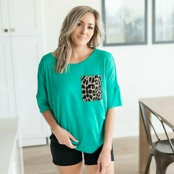 Drop Short Sleeve Basic Top With Leopard Print Front Chest Pocket $11.99