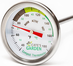 2 Inch Diameter Compost Thermometer For Backyard Composting Stainless Steel NEW $27.63
