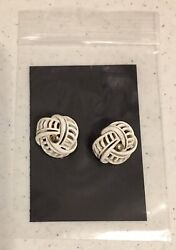 """Monet Earrings Signed White Clip On 1"""" Vintage Costume Jewelry $8.95"""
