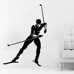Skier Wall Decal Sports Athlete Skiing Wall Decals Vinyl Stickers $12.92