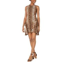 19 Cooper Womens Brown Leopard Print Tiered Ruffled Party Dress XL BHFO 5256 $8.99