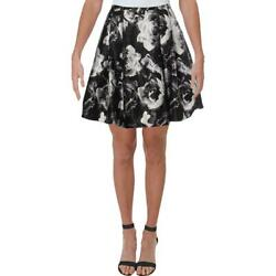 Blondie Nites Womens B W Satin Floral Night Out A Line Skirt Juniors 1 BHFO 7911 $10.99