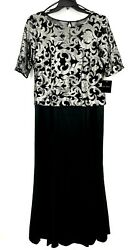 Le Bos Womens 12 Metallic Embroidered Long Dress Black Silver Formal Party NWT $131.55