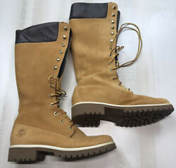 Timberland Women#x27;s Tall Lace Up Nubuck Leather Boots Size 9.5 $79.99