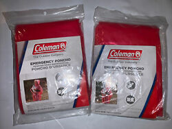 2 coleman emergency poncho red camping hiking outdoors $10.00