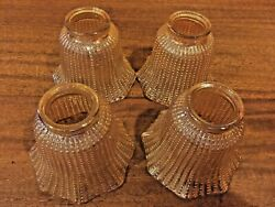 4 Vintage Amber Iridescent Beaded Hobnail Glass Light Lamp Replacement Shades $29.99