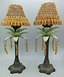 2 Iron Palm Tree Taper Candle Holders With Beaded Shades and Dangles 13½quot; Tall $29.99