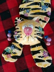 Bella Casa By Ganz Ceramic Wall CAT Yellow Black With Colorful Flowers $34.99