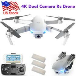 4K RC Drone Quadcopter Wide Angle Video Camera GPS Foldable Selfie WiFi3Battery $58.99