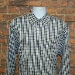 Haggar Mens For Ever New Button Down Shirt Size XL Blue Plaid Long Sleeve Cotton $13.99