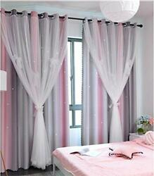 Yancorp Curtains for Girls Bedroom Kids Curtain Baby Nursery Hollow Out Star ... $38.91