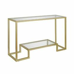 Modern Entryway Accent Glass Shelf for Hallway Sofa Table Gold Console Table $220.41