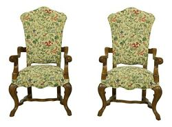 32983EC: Pair CENTURY Fruit Print Quality Upholstered Throne Armchairs $1595.00