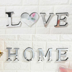 3D Mirror Wall Sticker Love Home Letter DIY Home Decor Acrylic Adhesive Decal $8.98