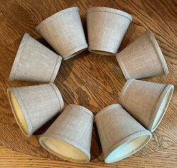 Set 8 Small Bell Lamp Chandelier Shades Linen Fabric Natural Beige Clip On $21.99
