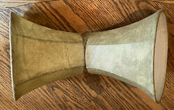 Set 2 Small Bell Lamp Chandelier Shades Fabric Leather Look Gold Beige Clip On $13.99