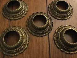 antique solid brass chandelier parts. Lot of 5 sockets Collars $29.00