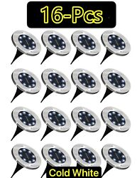 1 16 Pcs LED Solar Power Flat Buried Light In Ground Lamp Outdoor Path Garden