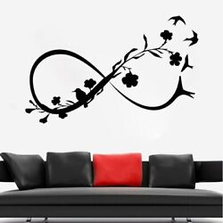 Infinity Symbol Wall Stickers Flowers Birds Decal Woman Girls Room Decoration $11.43
