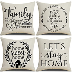MFGNEH Farmhouse Decorations Pillow Covers 18x18 Set of 4 Home Sweet Home Family $20.58