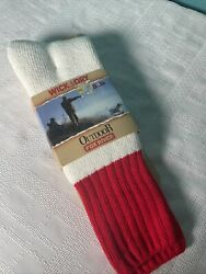 Outdoor Fox River Wick Dry Men#x27;s Size Large 9 12 White Red Heavy Socks 1 Pair $14.99