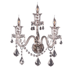 CRYSTAL FOYER LIVING DINING ROOM BEDROOM BATHROOM CHROME 3 LIGHT 22quot; WALL SCONCE $267.59