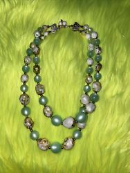 PRETTY vintage 2 strand GREEN MOONGLOW LUCITE fancy beaded NECKLACE $9.00