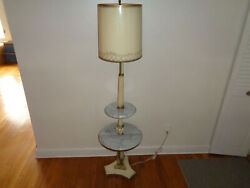 Vintage floor lamp with marble shelves $29.50