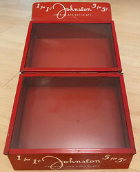 ANTIQUE RED JOHNSTON CANDIES amp; CHOCOLATE Glass Drug Store Countertop Display $175.00