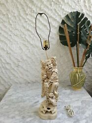Vintage Antique Chinese Asian Immortal Buddha Carved Wooden Lamp 31quot; $85.00