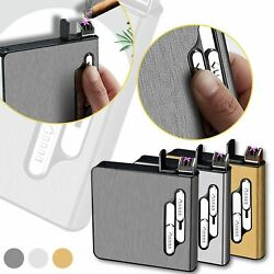 Metal Cigarette Case with Lighter Electric Waterproof Rechargeable Tobacco Box $18.94
