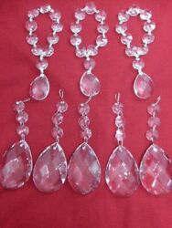 Small Lot of Vintage Lead Crystal Chandelier Drops w Octagons Parts Repair Craft $22.00