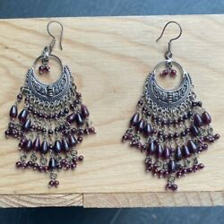 Silver and Purple Chandelier Earrings 30g Good Condition $12.00