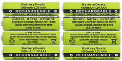 1.2V NiMH AAA Rechargeable Batteries for Panasonic Cordless Phones 8 Pack $12.95