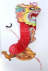 VINTAGE Chinese Paper Hanging Decoration Rare Handmade Asian Dragon Design Red $24.99