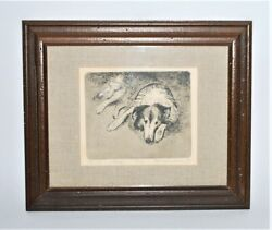 Old Jake Framed Etching Picture Art Work by Boyd Saunders Collie Dog 26 300 $129.99