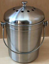 RSVP Endurance 1 Gallon 18 8 Stainless Steel Compost Pail with Bag Retainer $25.99